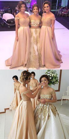 A-Line Bridesmaid Dresses,Off-the-Shoulder Bridesmaid Dresses,Pearl Pink Bridesmaid Dresses,Bridesmaid Dresses 2017,Beading Bridesmaid Dresses,Long Bridesmaid Dresses