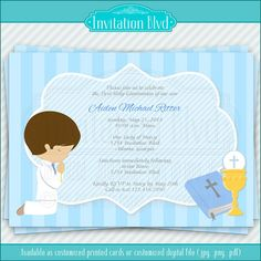 First Communion Invitation - Boy First Communion - Primera Comunion - First Holy Communion - Printable First Holy Communion Invitation