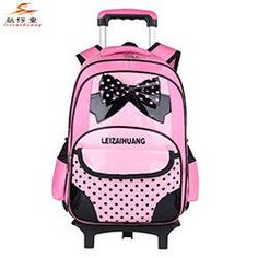 2015 Korean Cute Buttfly Trolley School bag for girls PU Leather Backpack with wheels