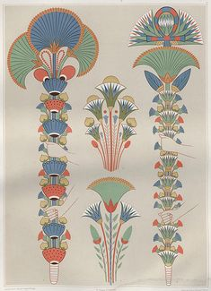 Atlas of Egyptian Art Stylised bouquets painted in tombs during the and Dynasties. Wiki: map and history of ancient. Motifs Art Nouveau, Art Nouveau Design, Art Deco, Art And Illustration, Ancient Egypt Art, Ancient Aliens, Ancient Artifacts, Ancient Greece, Ancient History
