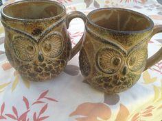 Two very unique 1970's Owl coffee mugs. $7.00, via Etsy.