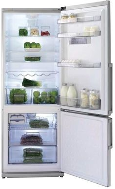 Blomberg BRFB15XXSS 28 Inch Bottom Mount Counter Depth Refrigerator with 15 cu. ft. Capacity, 3 Glass Shelves, 2 Crisper Drawers, Chrome Plated Wine Rack, Dual Evaporators, Antibacterial Interior, White LED Lighting, Frost Free and ENERGY STAR