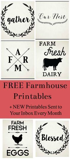 Library of free printables. Enter email to receive FREE access and password to our library of printables. Farmhouse, spring, easter, mother's day and botanical printables. Shilouette Cameo, Farmhouse Signs, Farmhouse Decor, Farmhouse Font, Farmhouse Ideas, Farmhouse Style, Creation Deco, Diy Décoration, Silhouette Cameo Projects