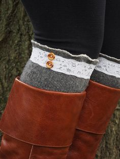 Boot Socks Lace Boot Socks Gray Wool Boot Cuffs Knee High Socks by sugarbshop.etsy.com, $35.00