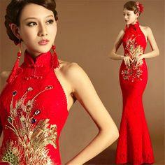 Halter Mermaid Red Evening Dresses Wedding Dress Sequins Phoenix Cheongsam Y244H | eBay
