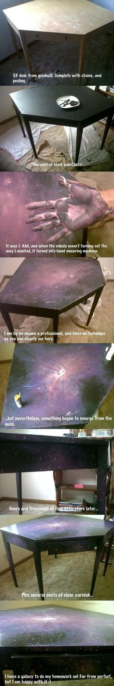 Galaxy table - gonna try to do it with an ikea table! Galaxy table - gonna try to do it with an ikea table! Kids Crafts, Diy And Crafts, Craft Projects, Projects To Try, Arts And Crafts, Do It Yourself Furniture, Diy Furniture, Painted Furniture, Ideias Diy