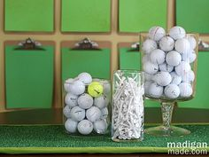 Golf ball vase filler and astroturf table runner