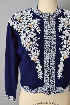 1950s Beaded Sweater / Navy Blue Angora Sweater / Vintage | Etsy Angora Sweater, Scalloped Hem, Vintage Sweaters, Etsy Vintage, Wool Blend, 1950s, Navy Blue, Silk, Pattern