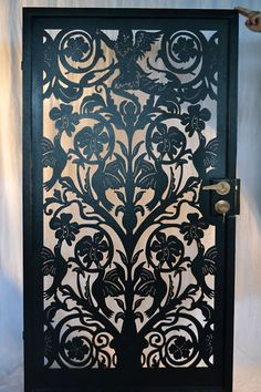 Inspired by Century Italian art, here is a fabulous custom entry gate with FACTORY-DIRECT PRICING. Rough opening: This is a gorgeous design with birds, vines, and a fabulous angel from the Century Italian era. Metal Gates, Wrought Iron Gates, Metal Artwork, Metal Wall Art, Custom Metal Art, Laser Cut Metal, Entrance Gates, Iron Doors, Gate Design