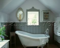 Freestanding bath with tongue and groove panelling in Hardwick White by Farrow and Ball. French Bathroom, Tongue And Groove Panelling, Boat House Interior, Bathroom Styling, Small Bathroom, Bathroom, Gray Bathroom Walls, Bathroom Paneling, Free Standing Bath