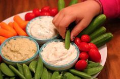 3 of our favorite, kid-friendly dips! Delicious, nutritious, and each takes 5 minutes to make.: http://cookingwithkiddies.com/when-i-dip-you-dip-we-dip/