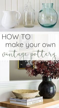 How to make your own faux vintage pottery vases Vintage Vases, Vintage Pottery, Lime Paint, Diy Confetti, Rustic Crafts, Decor Crafts, Holiday Centerpieces, Hacks Diy, Pottery Vase
