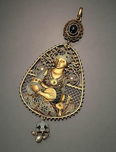 Spanish Tested 18-Karat Yellow-Gold, Diamond and Blue Sapphire Plique-à-Jour Enamel Pendant, Attributed to Masriera Y Carreras  Circa 1925   - by Weschler's