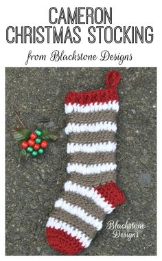 Cameron Christmas Stocking crochet pattern from Blackstone Designs   Also available in the Cameron Line: Cameron Slouch, Cameron Wristers, Cameron Boot Toppers
