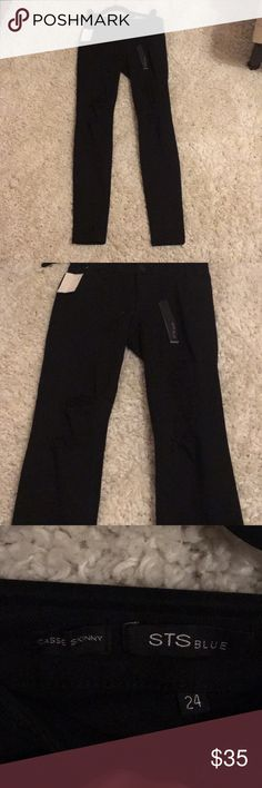 """Skinny black jeans with rips in thighs STS blue """"Cassie skinny"""" black jeans with rips in thighs never worn still have tags STS Blue Jeans Skinny"""