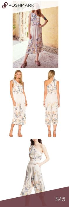 Free People Island Time Asymmetrical Jumpsuit PRODUCT DETAILS Jumpsuit by Free People Lightweight woven fabric Floral print Asymmetric neck One-shoulder design Stretch waistband Cropped leg Regular fit - true to size Machine wash 100% Rayon Free People Dresses