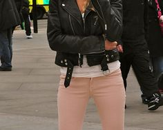 Pink jeans & leather coat => Bad ass style