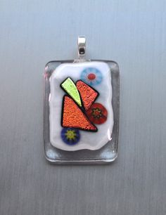 White and gray mosaic glass pendant with flowers and by Kaelay
