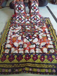Traditional women folk embroidery dress vintage banjara neck yokes bohemian old
