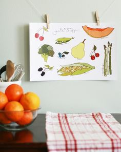 Kitchen Art Print  Eat the Good Stuff Fruits and by CinnamonInk, $30.00