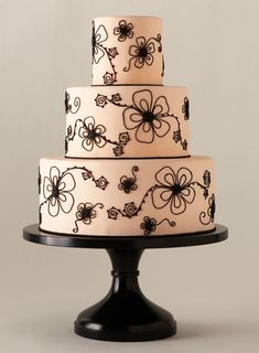 Pink Wedding Cake with Black Flowers - We spent nearly a year scouring the country's best bakeries in search of top pastry artists. More than 200 accepted our invitation to create a showstopping design, but only 24 can claim to have produced one of America's Most Beautiful Cakes.  - Wedding Cake