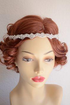 Crystal rhinestone headband,1920s headband,headpiece,Gatsby headpiece,Rhinestone beaded headband,Ribbon tie,High Sparkle,A002