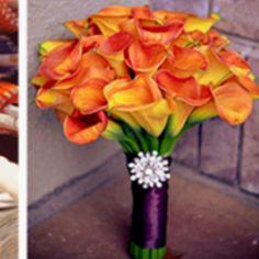 Orange bouquet for purple and orange theme