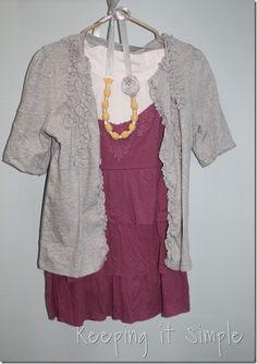 Love this look.  Brassy Apple: Refashioned tshirt to cardigan - sewing for women