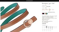 Hermès   AW16   Belt Kit 13mm   Reversible leather belt strap in Swift calfskin and Epsom calfskin in gold/peacock blue   Belt buckle in rose gold-plated metal   Ref. H065538CAAV070 & H071429CDZ2   £330.00