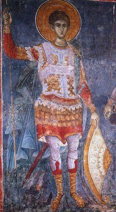 Saint Demetrios / Άγιος Δημήτριος Byzantine Icons, Byzantine Art, Religious Icons, Religious Art, Fresco, Saints And Soldiers, Church Interior, Art Icon, Orthodox Icons