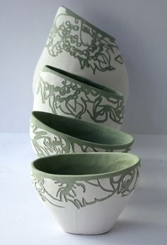 Eliza Jayne's wave cluster -- stained clay, bone china slip