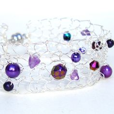 Wire Mesh Bracelet Amethyst Modern Knit Jewelry by lapisbeach. $42.00 USD, via Etsy.