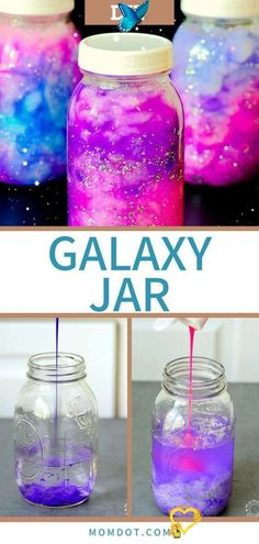 Galaxy Jar DIY Hold the Galaxy Glowing in your hands Hold the galaxy in your hands! This creative and easy DIY tutorial is fun and relaxing at the same time. Perfect for kids and for adults. #crafting #diyprojects #diy #forkids #craftideas<br> Galaxy Jar DIY, easy way to create a galaxy in a jar and all its wonder in your hands, use tutorial to make Nebula necklaces and other sensory calming jars Diy Crafts For Girls, Fun Diy Crafts, Jar Crafts, Summer Crafts, Diy For Kids, Wood Crafts, Decor Crafts, Summer Diy, Creative Crafts