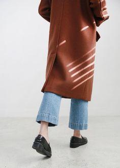 long wool coat, loafers