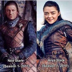 Ned Stark y su hija Arya. Se parecen mucho. GOT
