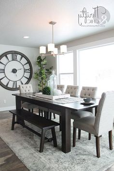 Great Idea 75 Simple and Minimalist Dining Table Decor Ideas //goodsgn.com/kitchen/75-simple-and-minimalist-dining-table-decor-ideas / & How to Decorate with Large Clocks (and my favourite oversized clocks ...