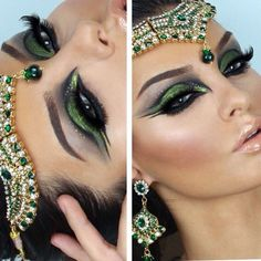 beautiful green make up Cleopatra Makeup, Egyptian Makeup, Arabic Makeup, Indian Makeup, Egyptian Costume, Dance Makeup, Makeup Art, Hair Makeup, Makeup Eyes