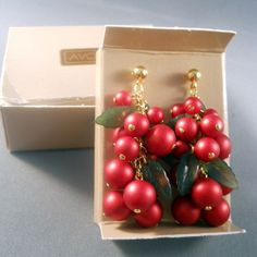 Red Holly Earrings in Original Box - $20.00 no box
