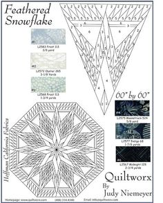 The Feathered Snowflake Tree Skirt was designed in 2012 and incorporates foundation paper piecing units designed by Judy and Brad Niemeyer. Vintage Quilts Patterns, Quilt Square Patterns, Paper Pieced Quilt Patterns, Barn Quilt Patterns, Applique Quilts, Quilting Patterns, Star Quilt Blocks, Lone Star Quilt, Snowflake Quilt