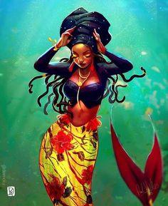 Black Love Art, Black Girl Art, Black Girls, Art Girl, Black Women, Black Art Painting, Black Artwork, Black Mermaid, Mermaid Art