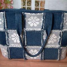 "Denim bag ""Favorite Boho"" - buy or order in the online store at the Fair of Masters Denim Tote Bags, Denim Handbags, Denim Purse, Jean Purses, Purses And Bags, Sac Granny Square, Blue Jean Quilts, Denim Crafts, Crochet Tote"