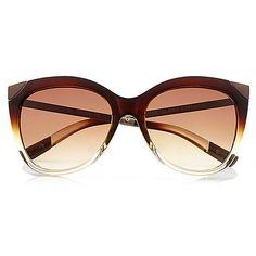 Lunettes de soleil papillon marron foncé avec métal - Lunettes de soleil forme œil de chat - Lunettes de soleil - femme
