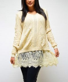 Another great find on #zulily! Beige Lace Crewneck Tunic by Simply Couture #zulilyfinds