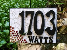 Hand Created Stained Glass Mosaic House Number by DragonflyzDesign, $75.00