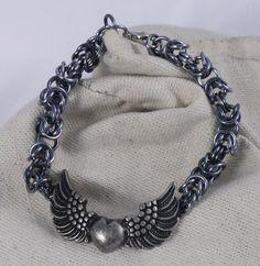 Steampunk Heart Chainmaille Bracelet / Wings Chainmaille Bracelet / Black Chainmaille Bracelet / Black Steampunk Bracelet