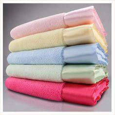 lightweight velour blanket with satin trim