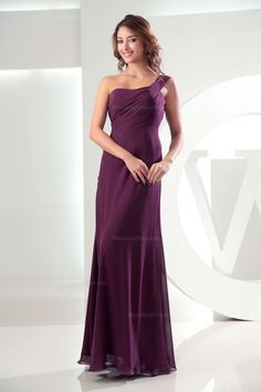 One-shoulder ruched top floor length chiffon dress