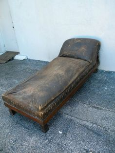 Victorian Tiger Oak Fainting Sofa Chaise Lounge Psychologist Couch 2716 | eBay : fainting chaise - Sectionals, Sofas & Couches