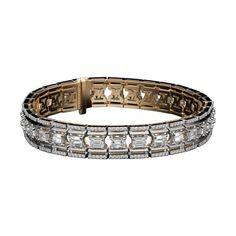 Alexandra Mor emerald-cut Platform diamond bracelet in white and black gold.