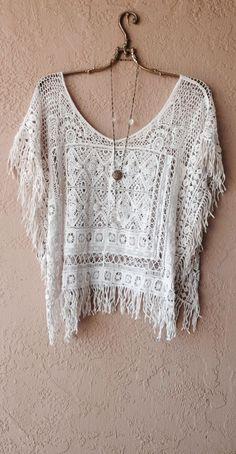 Rare Free People Crochet fringe beach bohemian crop top